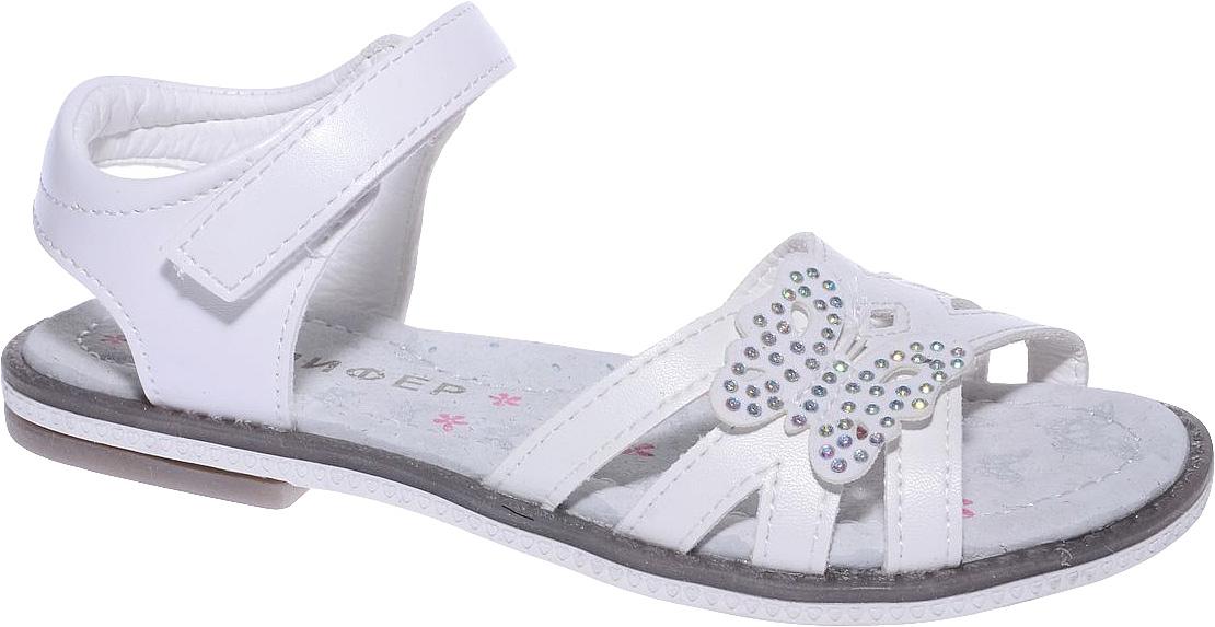 Босоножки для девочки Мифер, цвет: белый. 7602C-6. Размер 317602C-6Босоножки для девочки Мифер выполнены из качественной искусственной кожи и оформлены декоративными бабочками со стразами. Ремешки с липучками обеспечат оптимальную посадку модели на ноге. Мягкая стелька придаст максимальный комфорт при движении.