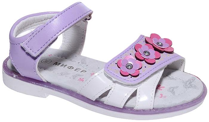 Босоножки для девочки Мифер, цвет: фиолетовый. 7601E. Размер 307601EБосоножки для девочки Мифер выполнены из качественной искусственной кожи и оформлены декоративными цветками со стразами. Ремешки с липучками обеспечат оптимальную посадку модели на ноге. Мягкая стелька придаст максимальный комфорт при движении.