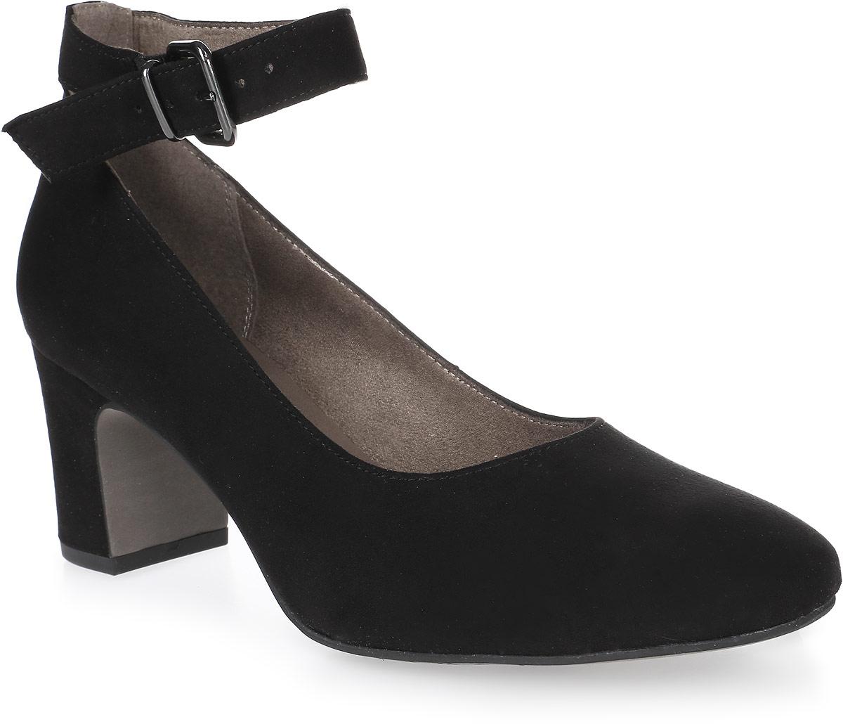 Туфли женские Tamaris, цвет: черный. 1-1-24431-38-001/225. Размер 401-1-24431-38-001/225Стильные туфли от Tamaris - незаменимая вещь в гардеробе каждой женщины. Модель выполнена из качественного текстиля. Ремешок с металлической пряжкой надежно зафиксирует изделие на ноге. Длина ремешка регулируется за счет болта. Подкладка изготовлена из текстиля, стелька - из искусственной кожи. Толстый каблук устойчив. Роскошные туфли помогут вам создать незабываемый образ.