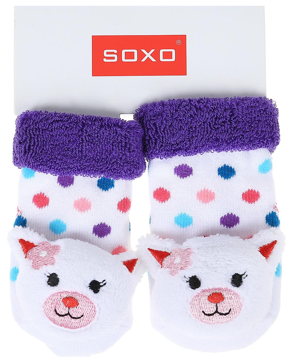 Носки детские Soxo, цвет: белый, фиолетовый. 68698_2. Размер 16/1868698_2