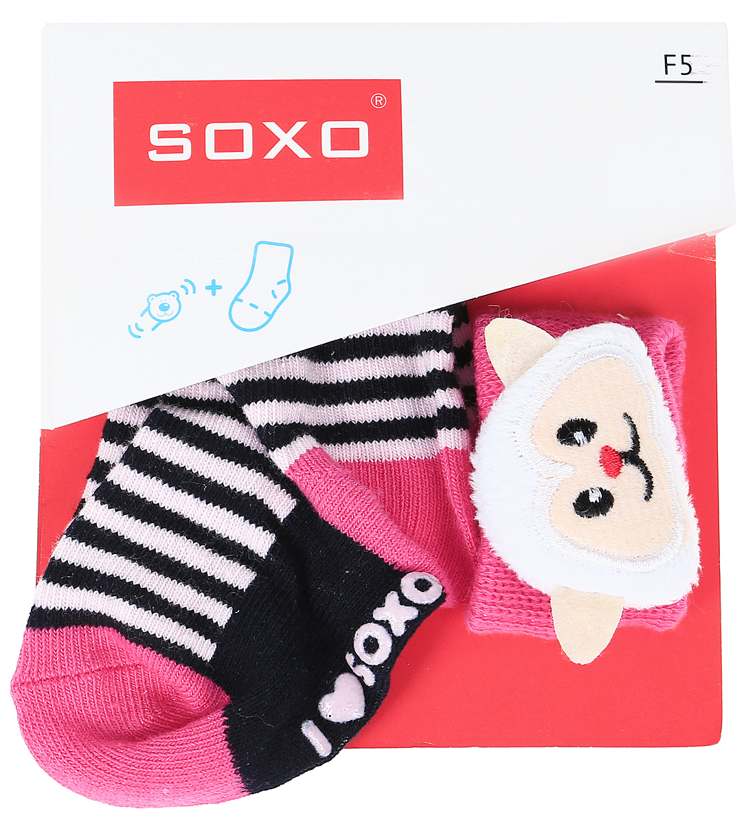 Комплект для девочек Soxo: носки и повязка на руку, цвет: белый, розовый. 68671_5. Размер 16/1868671_5