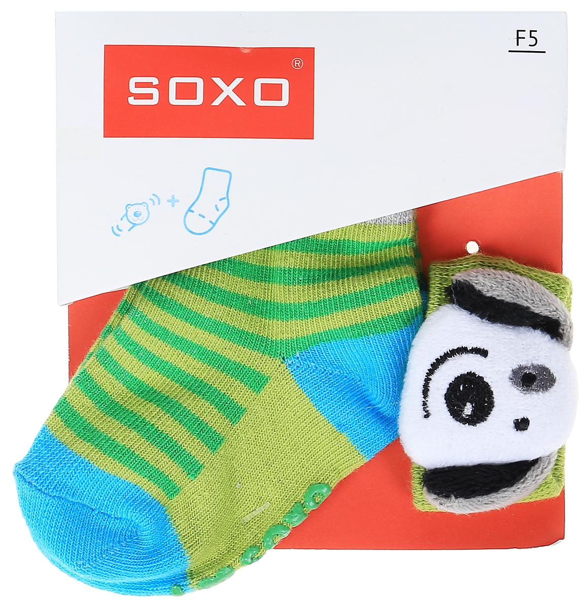 Комплект детский Soxo: носки и повязка на руку, цвет: зеленый, голубой. 68671_1. Размер 16/1868671_1