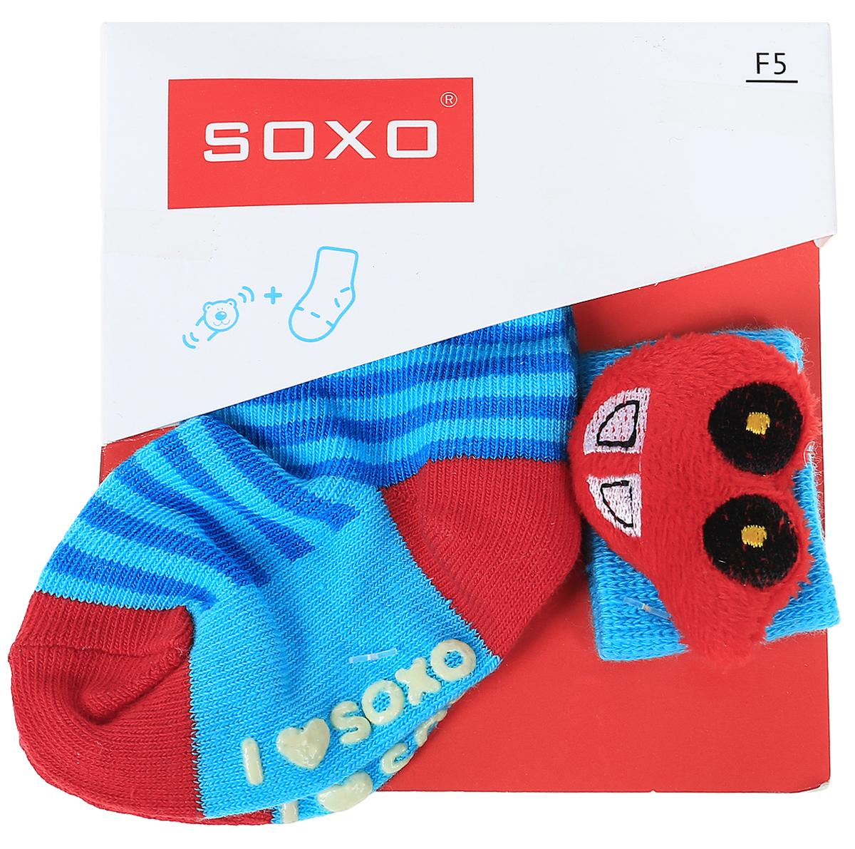 Комплект детский Soxo: носки и повязка на руку, цвет: голубой, красный. 68671. Размер 16/1868671