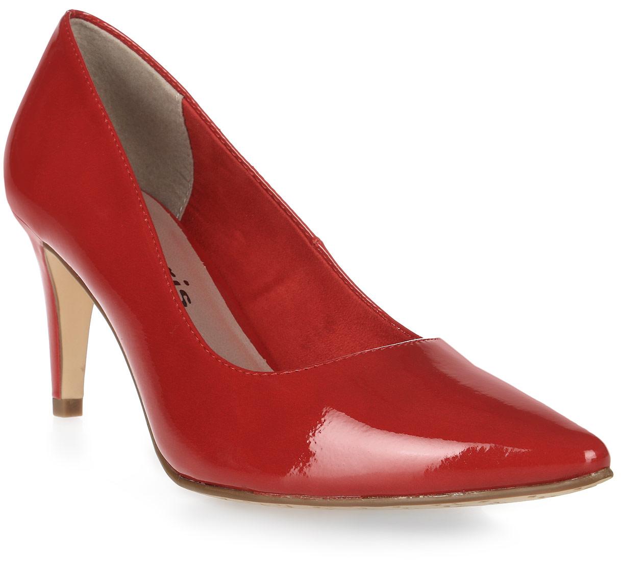 Туфли женские Tamaris, цвет: красный. 1-1-22447-28-520/229. Размер 391-1-22447-28-520/229Стильные туфли от Tamaris - незаменимая вещь в гардеробе каждой женщины. Модель с зауженным носком выполнена из искусственной лаковой кожи. Подкладка изготовлена из текстиля, стелька - из искусственной кожи. Не очень высокий каблук смотрится невероятно женственно. Роскошные туфли помогут вам создать незабываемый образ.