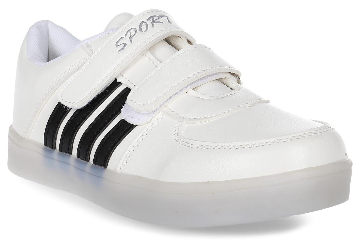 Кроссовки детские Тотошка, цвет: белый, черный. HXDO1B-27. Размер 33HXDO1B-27Стильные кроссовки от компании Тотошка выполнены из качественной искусственной кожи. Обувь фиксируется на ноге при помощи удобных хлястиков с липучками. Стелька из натуральной кожи комфортна при ходьбе. Подошва дополнена встроенными светодиодами.