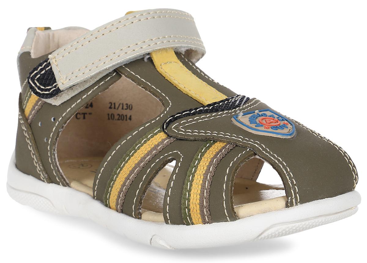 Сандалии для мальчика Зебра, цвет: хаки. 9355-24. Размер 229355-24Сандалии от Зебра выполнены из натуральной кожи. Внутренняя поверхность и стелька из натуральной кожи комфортны при ходьбе. Стелька дополнена супинатором, который обеспечивает правильное положение ноги ребенка при ходьбе и предотвращает плоскостопие. Ремешок с застежкой-липучкой позволяет прочно зафиксировать ножку ребенка.
