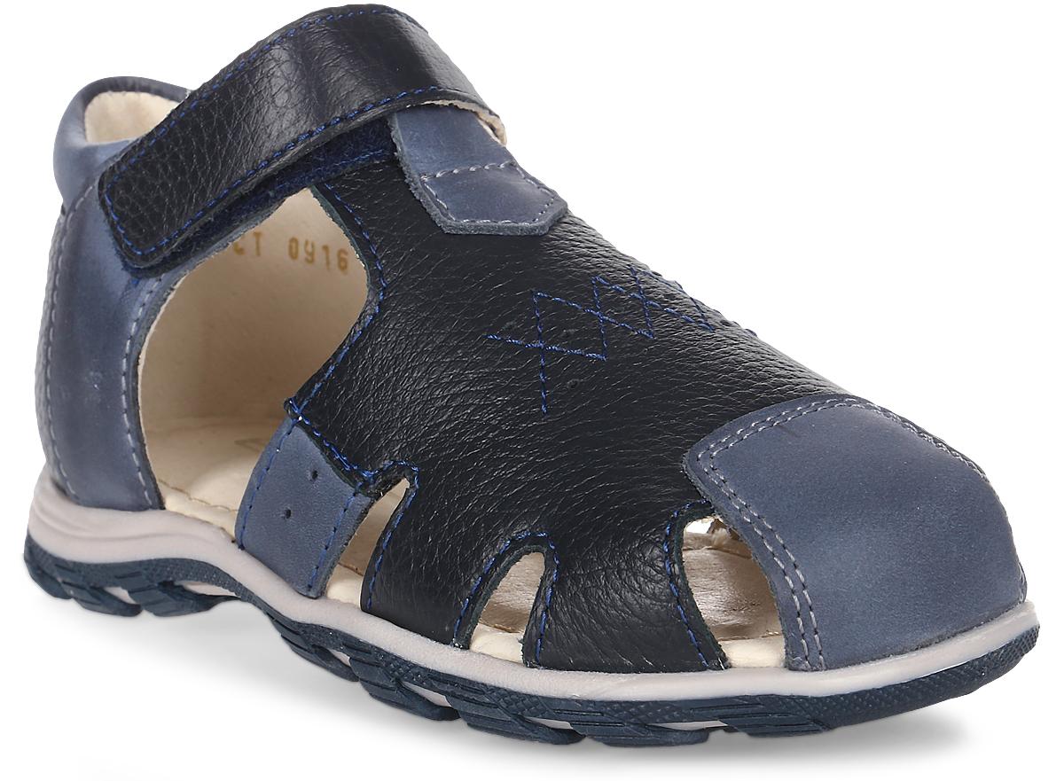 Сандалии для мальчика Зебра, цвет: синий. 11485-5. Размер 2611485-5Сандалии от Зебра выполнены из натуральной кожи. Внутренняя поверхность и стелька из натуральной кожи комфортны при ходьбе. Стелька дополнена супинатором, который обеспечивает правильное положение ноги ребенка при ходьбе и предотвращает плоскостопие. Ремешок с застежкой-липучкой позволяет прочно зафиксировать ножку ребенка.