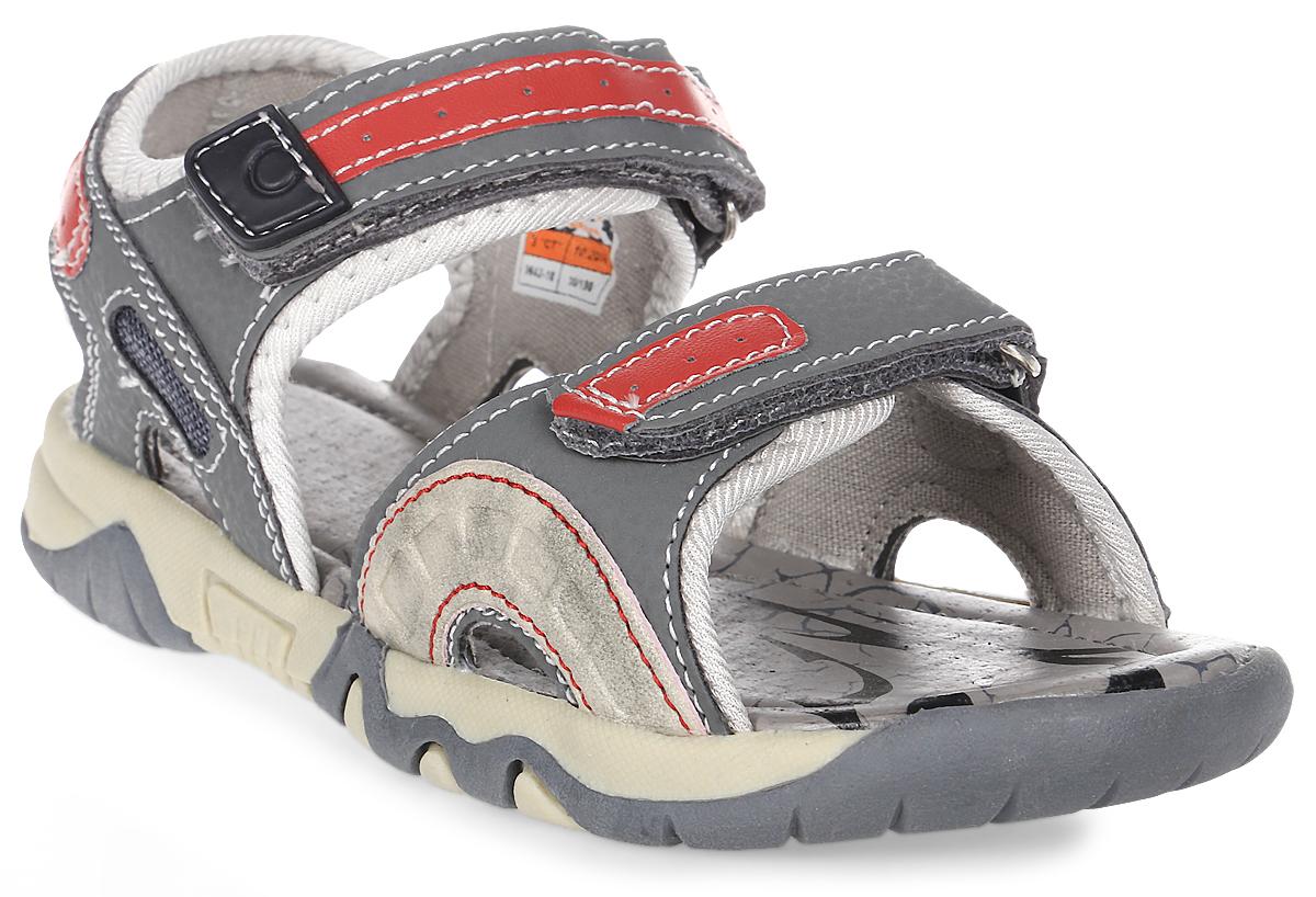 Сандалии для мальчика Зебра, цвет: серый. 9642-10. Размер 349642-10Сандалии от Зебра выполнены из комбинации искусственной кожи и текстиля. Ремешки на застежках-липучках на подъеме обеспечивают оптимальную посадку обуви на ноге, не давая ей смещаться из стороны в сторону и назад. Инновационная профилированная стелька способствует правильному формированию скелета и анатомических сводов детской стопы, правильной установке пятке ребенка, уменьшает ударную нагрузку на стопу, суставы ног и позвоночник.