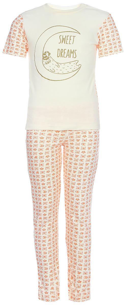 Пижама для девочки КотМарКот, цвет: светло-бежевый, оранжевый. 16225. Размер 12216225Пижама для девочки КотМарКот, состоящая из футболки и брюк, выполнена из натурального хлопка. Футболка с короткими рукавами и круглым вырезом горловины. Брюки прямого кроя имеют эластичную резинку на поясе.