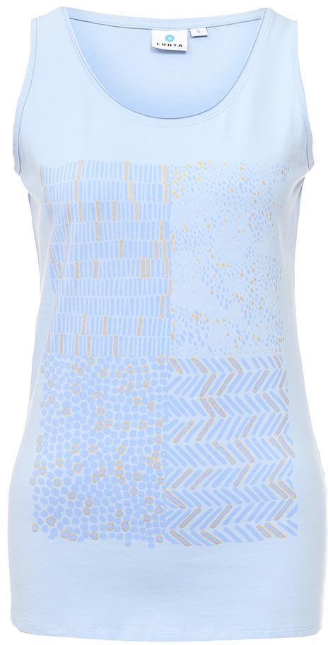 Майка женская Luhta, цвет: голубой. 737229591LV. Размер S (44)737229591LVМайка женская Luhta выполнена из высококачественного материала. Модель с круглым вырезом горловины оформлена оригинальным принтом.