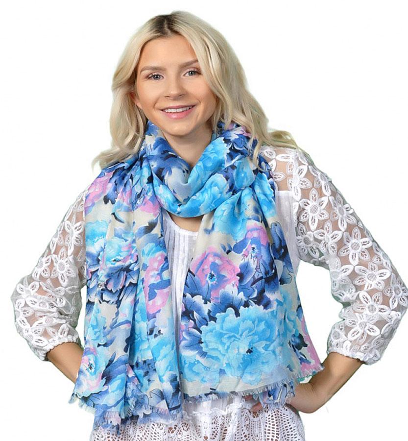 Палантин женский Venera, цвет: голубой, синий, розовый. 3416501-11. Размер 90 х 180 см3416501-11Стильный палантин Venera выполнен из вискозы с добавлением шелка и оформлен цветочным принтом. Края изделия отделаны бахромой. Такой палантин красиво драпируется, а также превосходно дополняет любой наряд. Он внесет романтичную нотку в ваш летний образ!