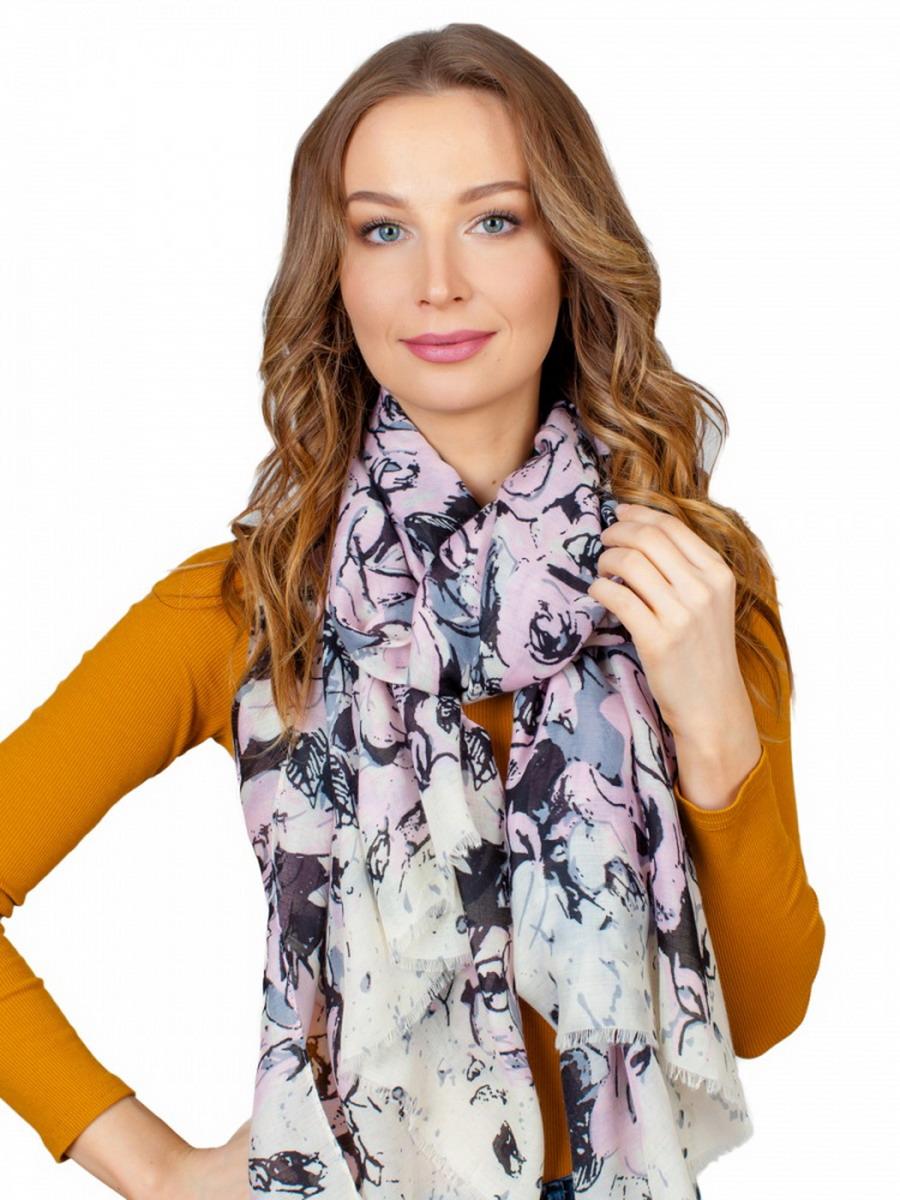 Палантин женский Venera, цвет: розовый, серый, черный , молочный. 3417301-05. Размер 90 х 180 см3417301-05Стильный палантин Venera выполнен из вискозы с добавлением шелка и оформлен растительным принтом. Край изделия оформлен бахромой. Такой палантин красиво драпируется, а также превосходно дополняет любой наряд. Он внесет романтичную нотку в ваш летний образ!