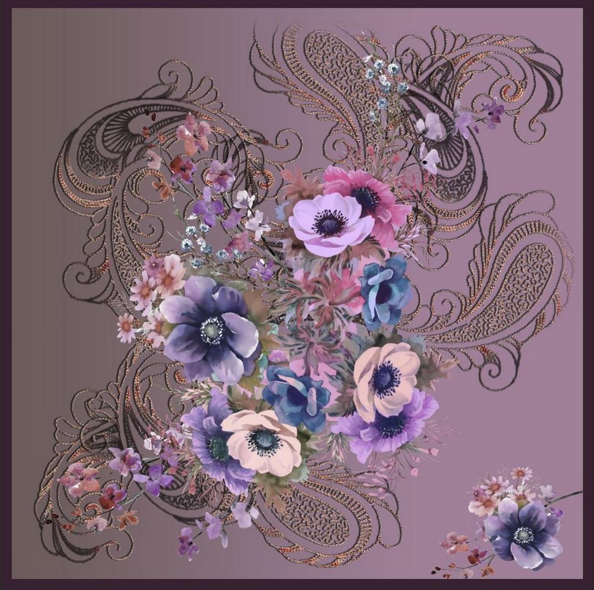 Платок женский Venera, цвет: серый, сиреневый. 3902627-25. Размер 90 х 90 см3902627-25Элегантный женский платок Venera изготовлен из высококачественного полиэстера приятного к телу и оформлен цветочным принтом. Такой стильный аксессуар освежит любой наряд и сделает ваш образ завершенным.