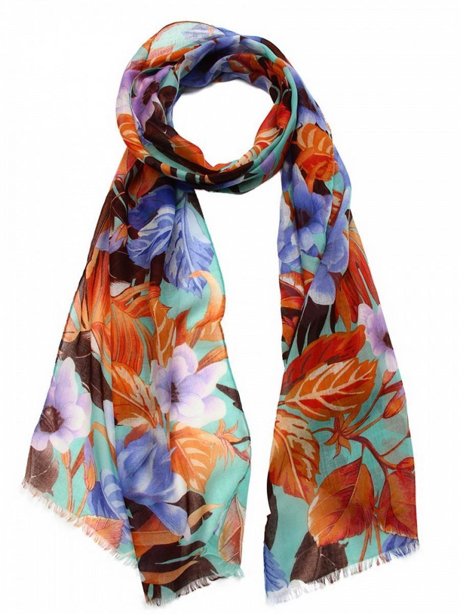 Шарф женский Venera, цвет: оранжевый, синий, голубой. 3405552. Размер 45 х 180 см3405552Элегантный женский шарф Venera изготовлен из мягкой вискозы приятной к телу и оформлен цветочным принтом. Края изделия отделаны бахромой. Такой стильный аксессуар освежит любой наряд и сделает ваш образ завершенным.