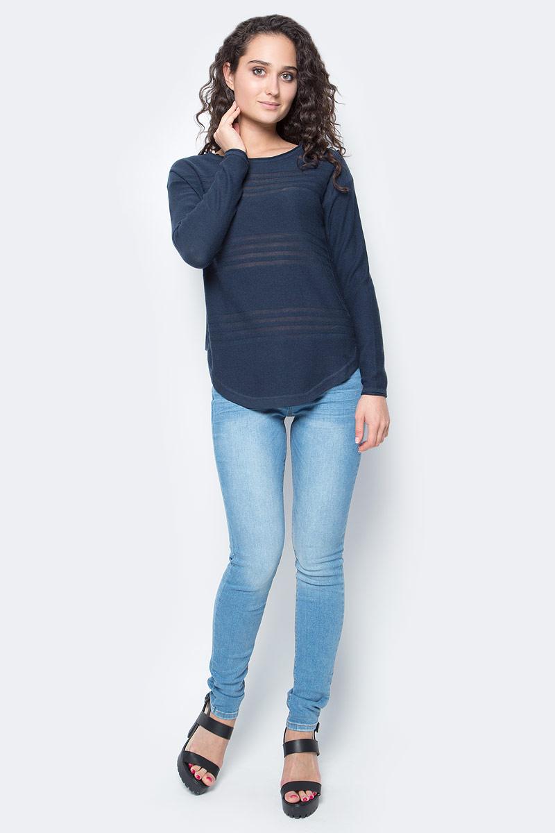 Свитер женский Tom Tailor, цвет: темно-синий. 3022690.00.71_6593. Размер XL (50)3022690.00.71_6593Стильный женский свитер Tom Tailor выполнен из хлопка и вискозы. Свитер приятный на ощупь и не сковывает движений, хорошо вентилируется и позволяет коже дышать. Модель прямого кроя с длинными рукавами, круглым вырезом горловины будет отлично на вас смотреться. Свитер оформлен полупрозрачными полосками.Элегантный свитер - идеальный вариант для создания модного образа.