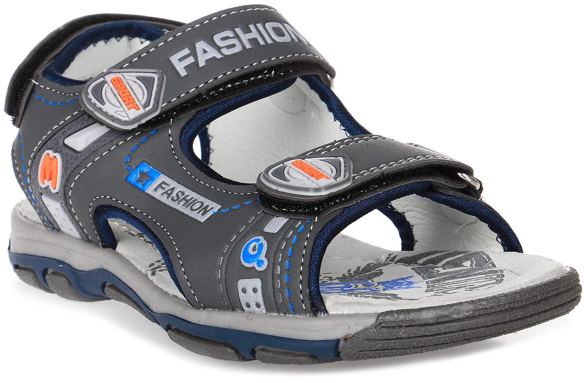 Сандалии для мальчика Мифер, цвет: серый. 7516A. Размер 347516AДетские сандалии Мифер выполнены из качественной искусственной кожи. Ремешки с липучками обеспечат оптимальную посадку модели на ноге. Мягкая стелька придаст максимальный комфорт при движении. Подошва оснащена рифлением для лучшего сцепления с различными поверхностями.