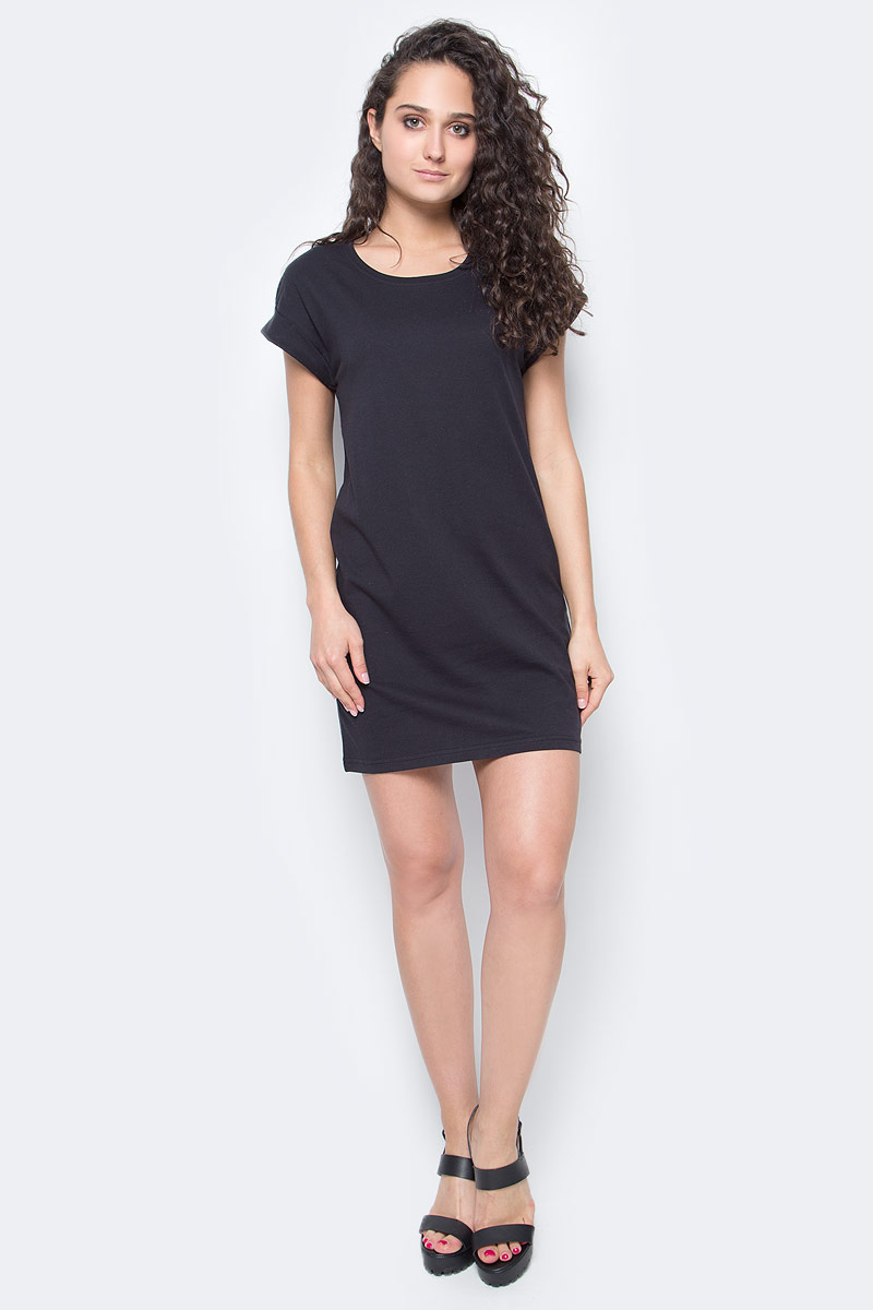 Платье Only, цвет: черный. 15136860_Black. Размер S (42/44)15136860_BlackЖенское повседневное платье Only изготовлено из мягкого трикотажа, послужит идеальным дополнением к вашему гардеробу.