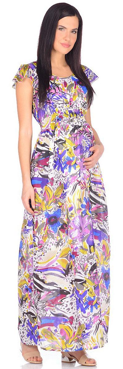 Платье для беременных и кормящих Mammy Size, цвет: белый, фиолетовый. 506941. Размер 50506941Яркое платье Mammy Size длины макси, выполненное из хлопчатобумажного набивного батиста, просто будоражит своим буйством красок. Платье имеет подкладку, поэтому модель отлично подходит не только для летнего, но и для весеннего периода. Для максимального удобства пояс платья стянут на нитку-резинку. Особую изюминку модели придают небольшие рукава-крылышки.