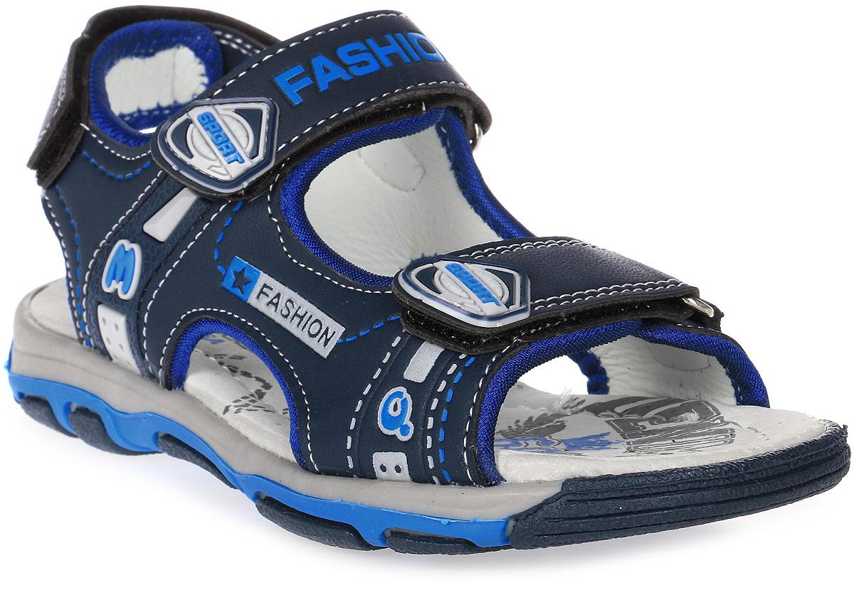 Сандалии для мальчика Мифер, цвет: синий. 7516A. Размер 317516AДетские сандалии Мифер выполнены из качественной искусственной кожи. Ремешки с липучками обеспечат оптимальную посадку модели на ноге. Мягкая стелька придаст максимальный комфорт при движении. Подошва оснащена рифлением для лучшего сцепления с различными поверхностями.
