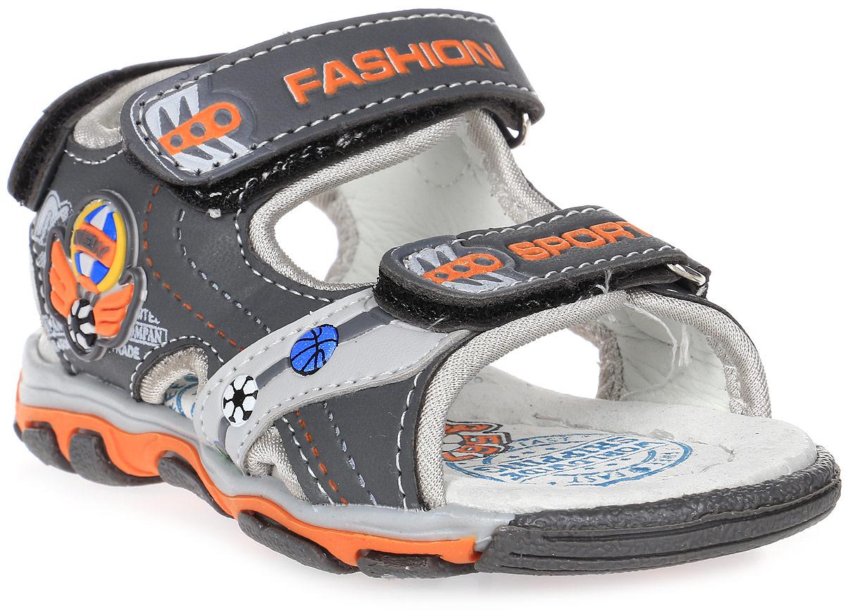 Сандалии для мальчика Мифер, цвет: серый. 7518D. Размер 247518DДетские сандалии Мифер выполнены из качественной искусственной кожи. Ремешки с липучками обеспечат оптимальную посадку модели на ноге. Мягкая стелька придаст максимальный комфорт при движении. Подошва оснащена рифлением для лучшего сцепления с различными поверхностями.
