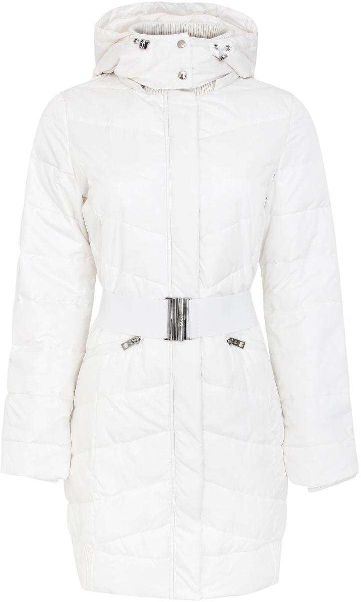 Куртка женская oodji Ultra, цвет: белый. 11G01001/18585/1200N. Размер 42-170 (48-170)11G01001/18585/1200NУтепленная куртка от oodji - самая удобная и теплая одежда для холодного сезона. Модель удлиненного кроя. Застегивается на молнию с ветрозащитным клапаном. Уютный капюшон согреет и защитит от ветра. По талии пояс. Дополнена куртка карманами.