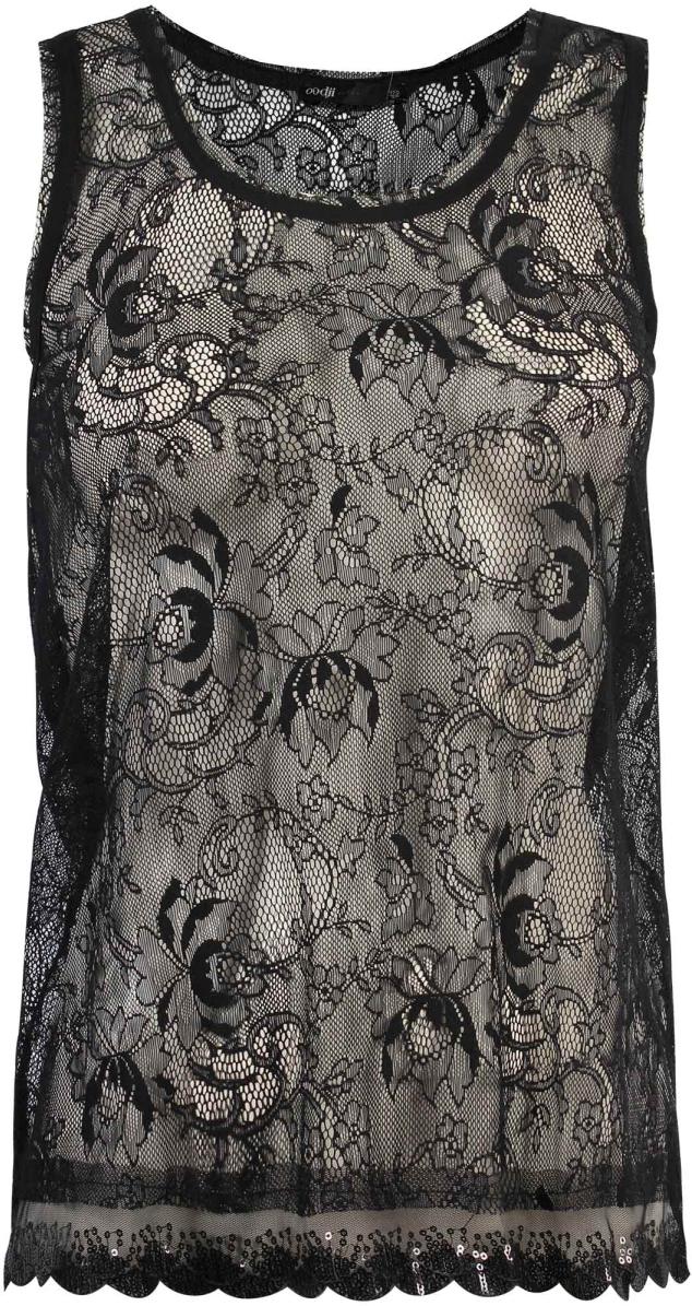 Блузка жен oodji Ultra, цвет: черный. 11305153M/35010/2900L. Размер 34-170 (40-170)11305153M/35010/2900LТрикотажная блузка