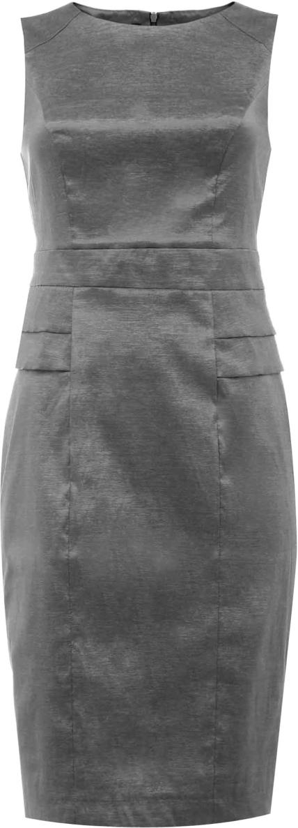 Платье oodji Collection, цвет: темно-серый. 21907028/24493/2500N. Размер 36-170 (42-170)21907028/24493/2500NСтильное платье-карандаш от oodji выполнено из высококачественного материала. Модель без рукавов и круглым вырезом горловины на спинке застегивается на потайную застежку-молнию. Сзади имеется шлица.