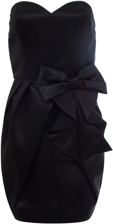 Платье oodji Ultra, цвет: черный металлик. 11902121/33159/2900X. Размер 42-170 (48-170)11902121/33159/2900XСтильное платье oodji изготовлено из качественного плотного материала. Модель с открытым верхом застегивается сзади на молнию. Передняя часть платья декорирована крупным декоративным бантом.