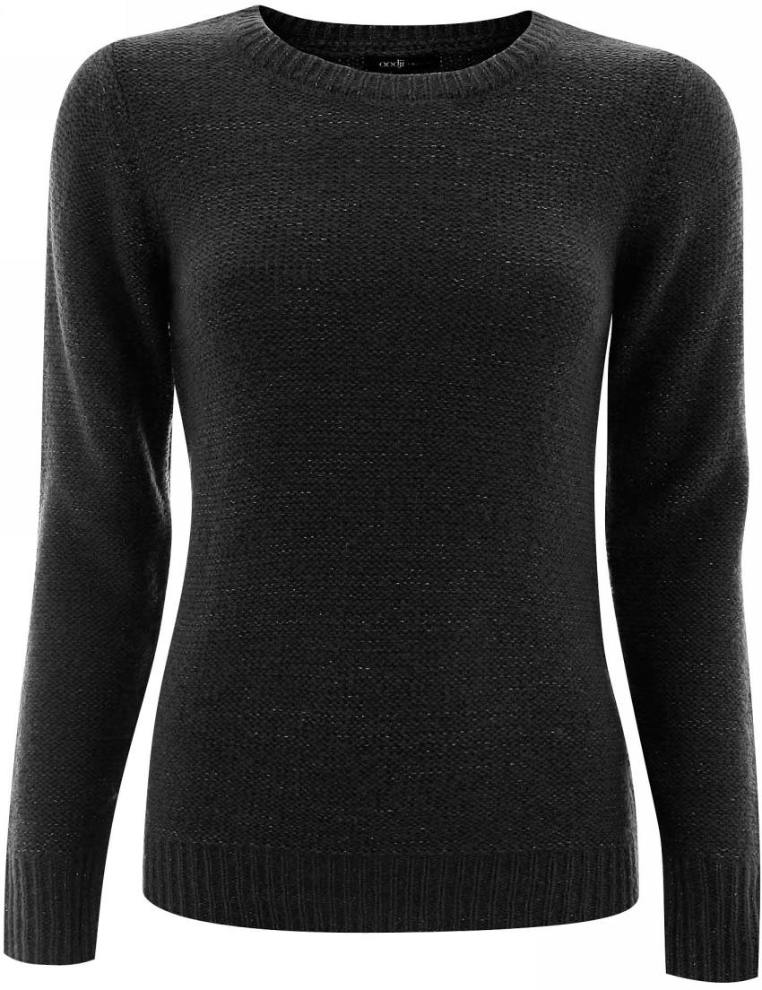 Джемпер женский oodji Ultra, цвет: черный металлик. 63805216-1/33307/2900X. Размер 34 (40)63805216-1/33307/2900XДжемпер