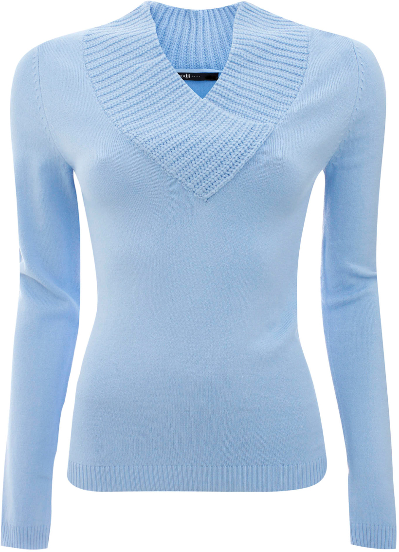 Джемпер жен oodji Ultra, цвет: голубой. 63810020-1/33369/7000N. Размер 34 (40)63810020-1/33369/7000NДжемпер
