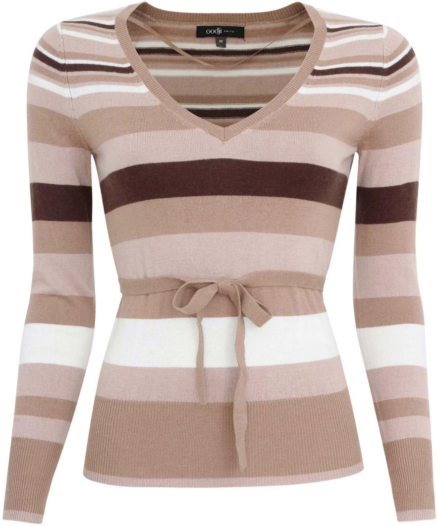 Джемпер женский oodji Collection, цвет: бежевый, темно-коричневый. 73810001-1/24282/3339S. Размер 40 (46)73810001-1/24282/3339SДжемпер