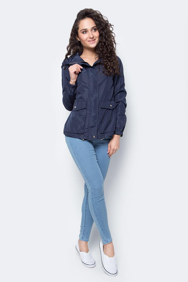 Куртка женская Top Secret, цвет: темно-синий. SKU0759GR34[E]. 34 (42)SKU0759GRЖенская куртка Top Secret выполнена из полиэстера. Модель с капюшоном и длинными рукавами застегивается на кнопки и застежку-молнию.