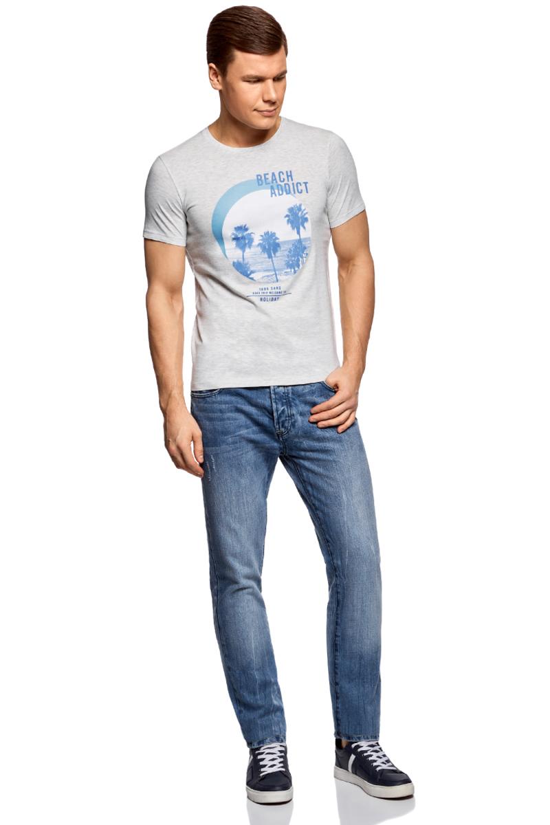 Футболка муж oodji Lab, цвет: светло-серый, синий. 5L611377M/25244N/2075P. Размер XXL (58/60)5L611377M/25244N/2075PФутболка хлопковая с принтом пальмы