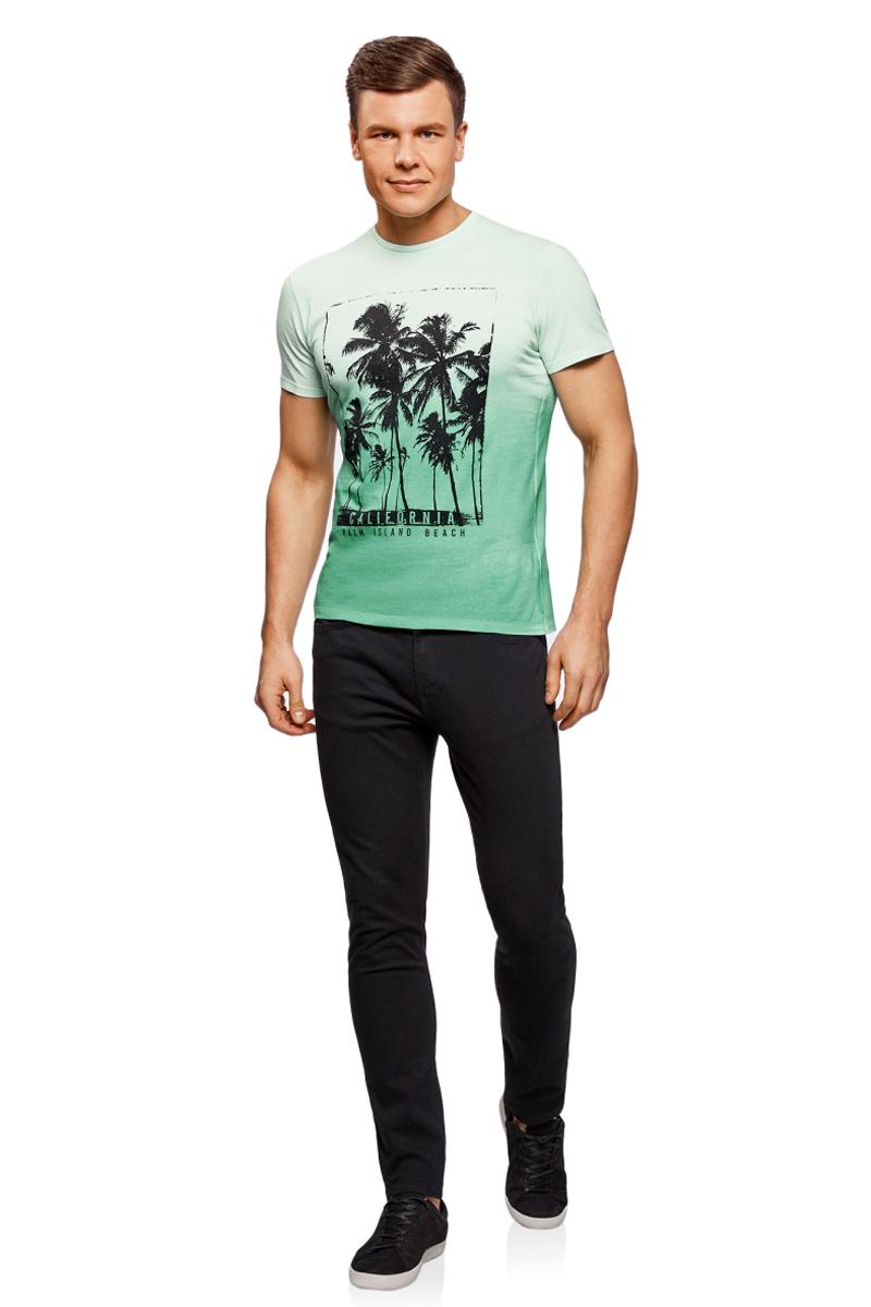 Футболка муж oodji Lab, цвет: зеленый. 5L611366M/39485N/6229P. Размер XXL (58/60)5L611366M/39485N/6229PМужская футболка с круглым вырезом горловины и короткими рукавами выполнена из натурального хлопка. Спереди модель оформлена принтом пальмы.