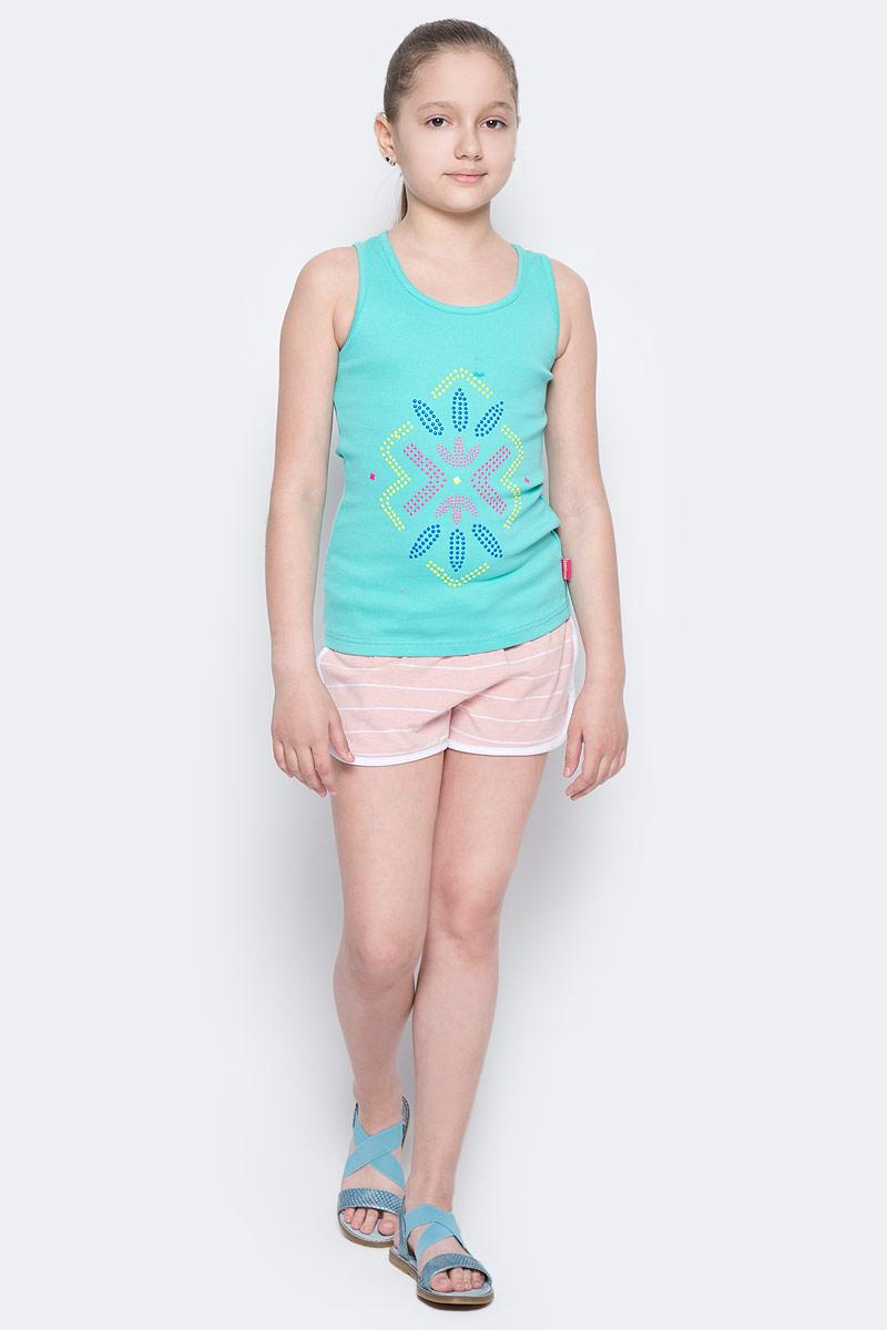 Майка для девочки Luminoso, цвет: бирюзовый. 718009. Размер 158718009Трикотажная майка-топ для девочки с оригинальной аппликацией. Спинка декорирована кружевной вставкой.