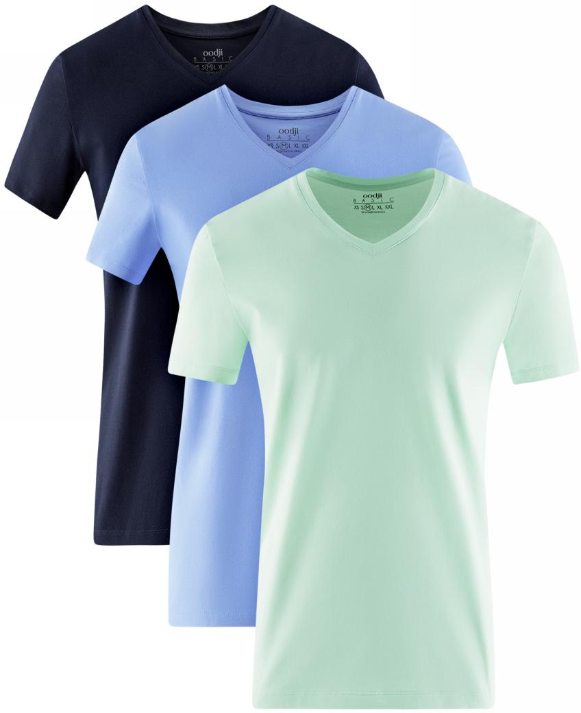 Футболка мужская oodji Basic, цвет: темно-синий, голубой, мятный, черный, 3 шт. 5B612002T3/46737N/1907N. Размер M (50)5B612002T3/46737N/1907NМужская базовая футболка от oodji выполнена из эластичного хлопкового трикотажа. Модель с короткими рукавами и V-образным вырезом горловины. В комплект входит три футболки.