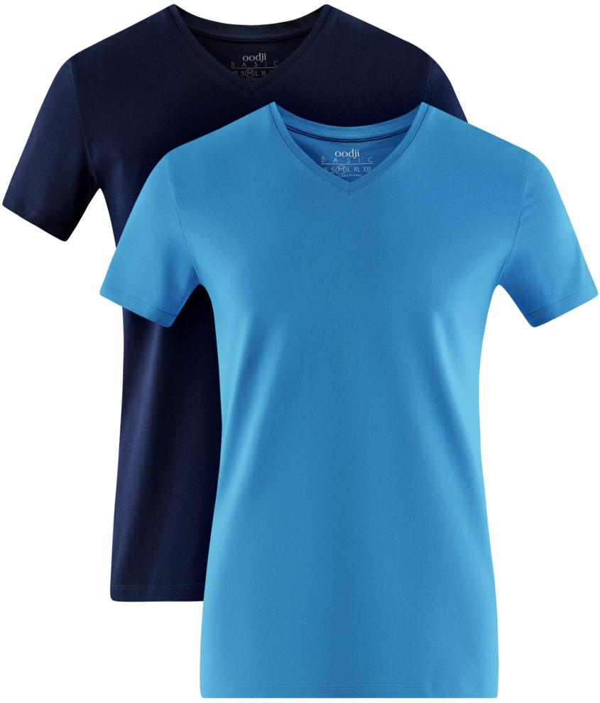 Футболка мужская oodji Basic, цвет: темно-синий, голубой, 2 шт. 5B612002T2/46737N/1900N. Размер XS (44)5B612002T2/46737N/1900NМужская базовая футболка от oodji выполнена из эластичного хлопкового трикотажа. Модель с короткими рукавами и V-образным вырезом горловины. В комплект входит две футболки.