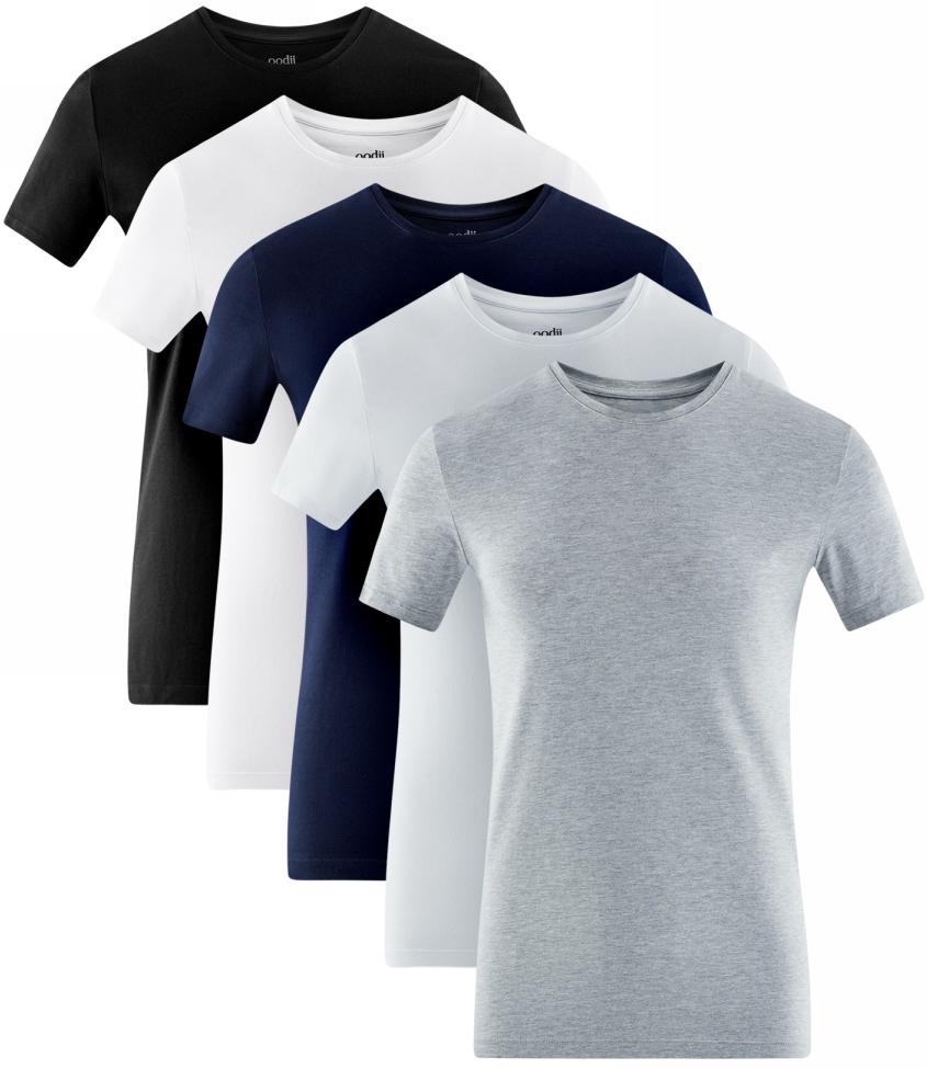 Футболка мужская oodji Basic, цвет: черный, белый, темно-синий, серый, 5 ш. 5B611004T5/46737N/1901N. Размер XL (56)5B611004T5/46737N/1901NМужская базовая футболка от oodji выполнена из эластичного хлопкового трикотажа. Модель с короткими рукавами и круглым вырезом горловины. В комплекте 5 футболок.