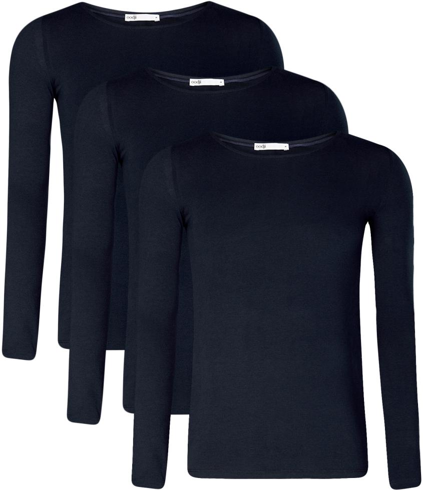 Лонгслив женский oodji Collection, цвет: темно-синий, 3 шт. 24201007T3/46147/7900N. Размер XL (50)24201007T3/46147/7900NЖенский лонгслив от oodji выполнен из эластичного хлопкового трикотажа. Модель с длинными рукавами и круглым вырезом горловины.В комплект входит три лонгслива.
