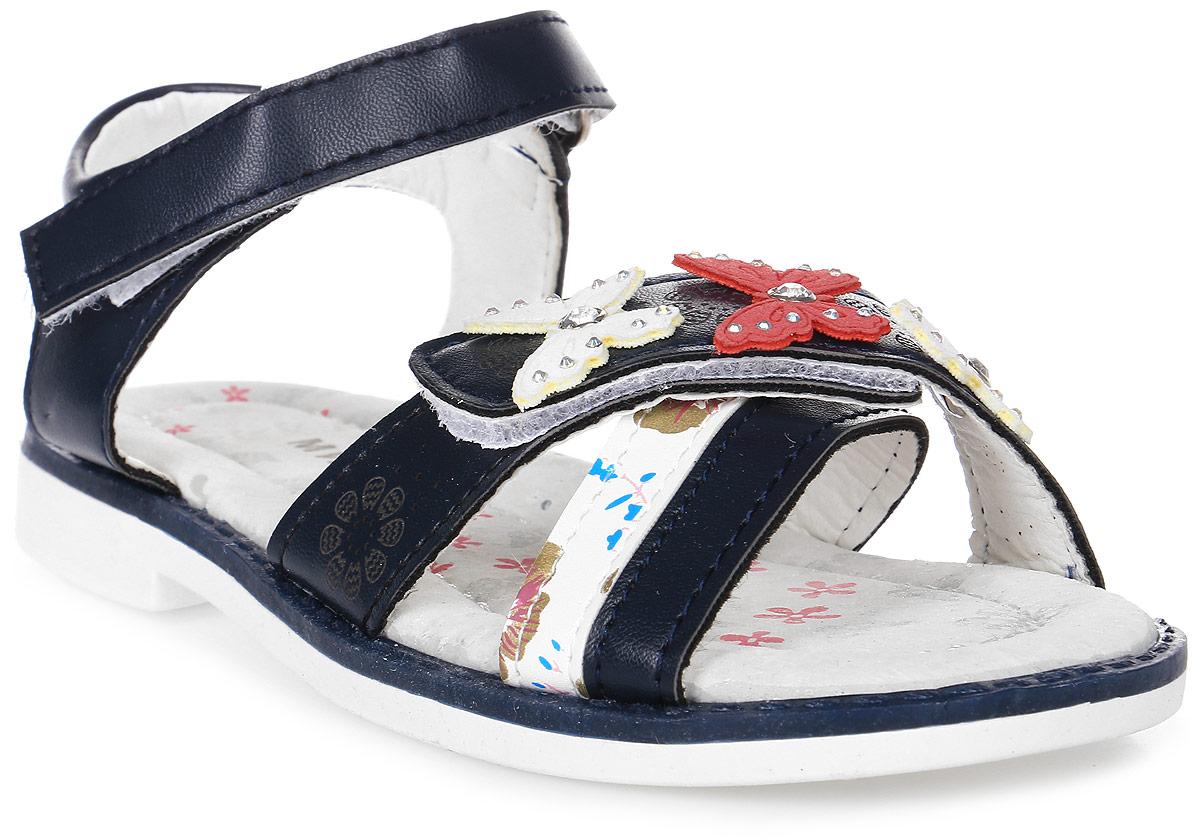 Босоножки для девочки Мифер, цвет: синий. 7601C. Размер 287601CБосоножки для девочки Мифер выполнены из качественной искусственной кожи и оформлены декоративными бабочками со стразами. Ремешки с липучками обеспечат оптимальную посадку модели на ноге. Мягкая стелька придаст максимальный комфорт при движении.