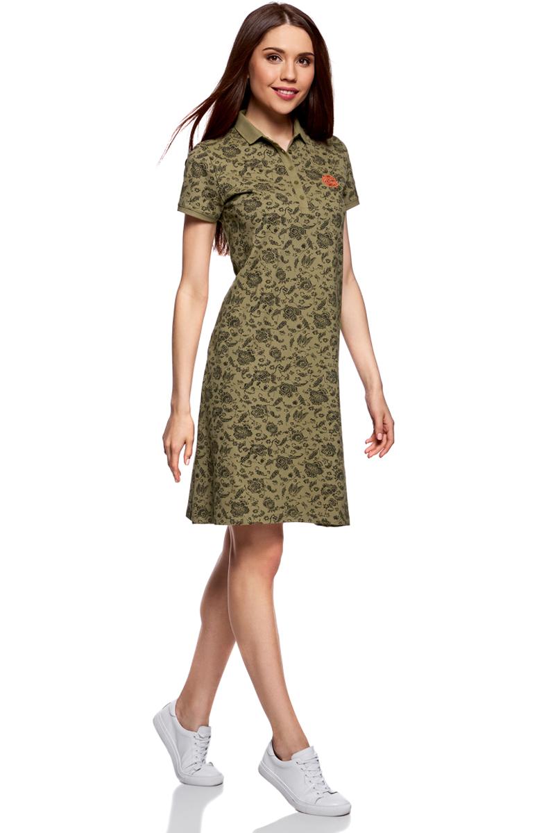 Платье oodji Collection, цвет: хаки, темный хаки. 24001118-2/47005/6668E. Размер XL (50)24001118-2/47005/6668EПлатье поло из ткани пике