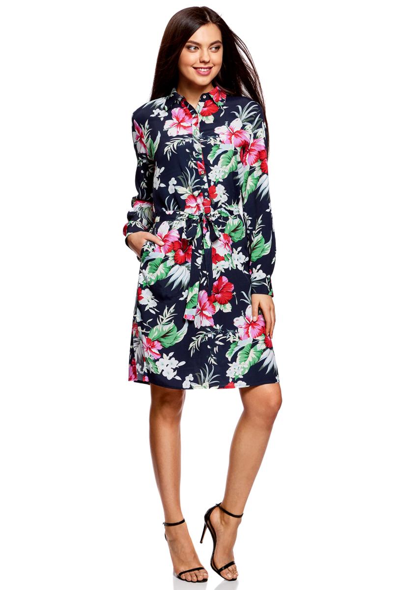 Платье жен oodji Collection, цвет: темно-синий, красный, цветы. 21911022/42800/7945F. Размер 36-170 (42-170)21911022/42800/7945FПлатье вискозное с поясом