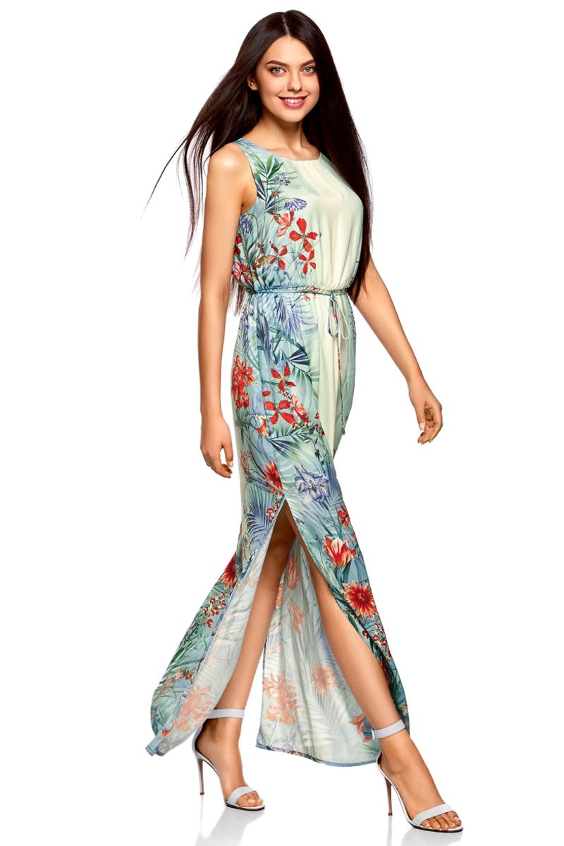 Платье oodji Collection, цвет: бирюзовый, красный. 21900323-5M/42873/7345F. Размер 38-170 (44-170)21900323-5M/42873/7345FДлинное платье от oodji выполнено из высококачественного материала. Модель без рукавов и с круглым вырезом горловины с глубоким разрезом на спине сзади застегивается на пуговицу. По бокам юбка платья дополнена разрезами. Талия дополнена эластичной резинкой и тонким текстильным пояском.