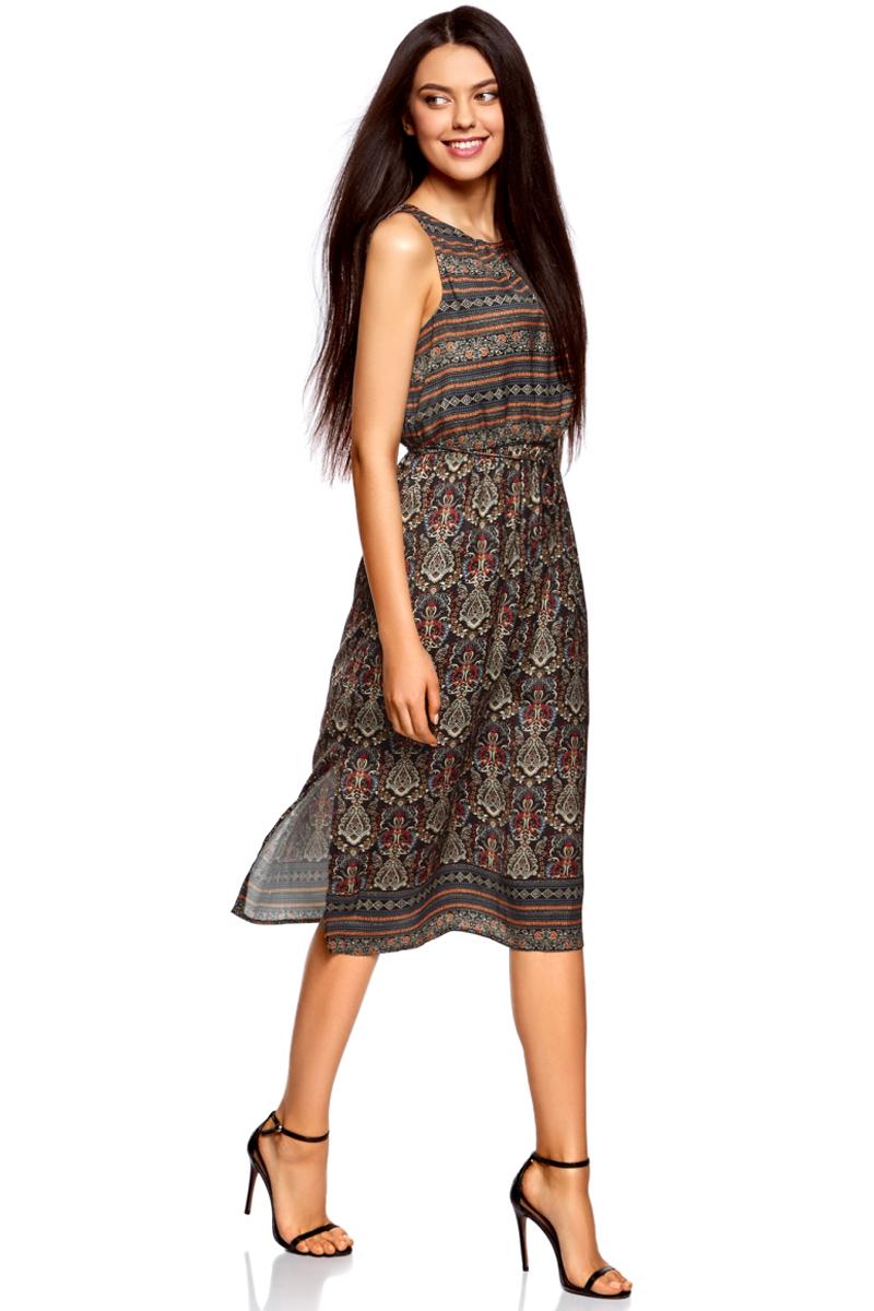 Платье oodji Collection, цвет: серый, красный. 21900323-4M/42873/2945E. Размер 38-170 (44-170)21900323-4M/42873/2945EПлатье от oodji средней длины выполнено из высококачественного материала. Модель без рукавов и с круглым вырезом горловины с глубоким разрезом на спине сзади застегивается на пуговицу. По бокам юбка платья дополнена разрезами. Талия дополнена эластичной резинкой и тонким текстильным пояском.