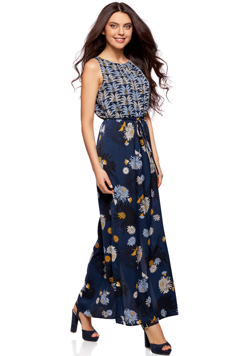 Платье oodji Collection, цвет: темно-синий, горчичный. 21900323-2/42873/7957F. Размер 42-170 (48-170)21900323-2/42873/7957FДлинное платье в пол от oodji выполнено из высококачественного материала. Модель без рукавов и с круглым вырезом горловины с глубоким разрезом на спине сзади застегивается на пуговицу. По бокам юбка платья дополнена разрезами. Талия дополнена эластичной резинкой и тонким текстильным пояском.