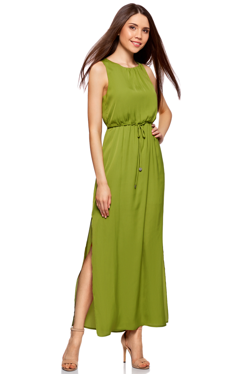 Платье oodji Collection, цвет: зеленый. 21900323-1/42873/6B00N. Размер 38-170 (44-170)21900323-1/42873/6B00NПлатье oodji Collection выполнено из легкой струящейся ткани. Модель макси-длины с разрезами на юбке по бокам и вырезом-капелькой на спинке застегивается на пуговицу сзади. Линию талии подчеркивает поясок-кулиска, входящий в комплект. Платье подойдет для праздника, прогулок или дружеских встреч и станет отличным дополнением гардероба в летний период. Мягкая ткань на основе полиэстера приятна на ощупь и комфортна в носке.