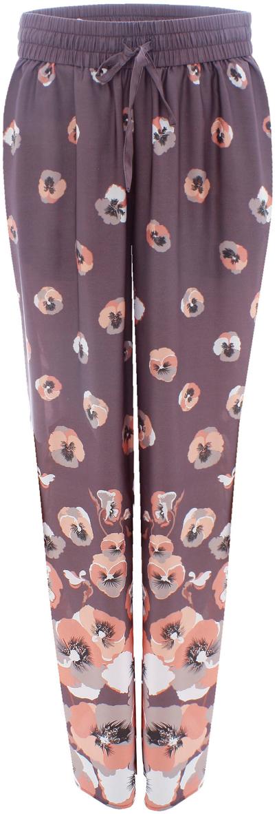 Брюки женские oodji Collection, цвет: темно-серый, розовый. 21700171-1/19613/254AF. Размер 42-170 (48-170)21700171-1/19613/254AFЖенские брюки от oodji свободного кроя на эластичном поясе выполнены из высококачественного материала.