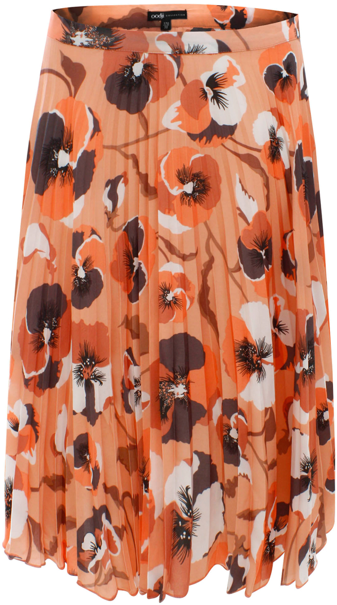 Юбка жен oodji Collection, цвет: карамельный, темно-серый, цветы. 21600255/19613/4B25F. Размер 42-170 (48-170)21600255/19613/4B25FЮбка