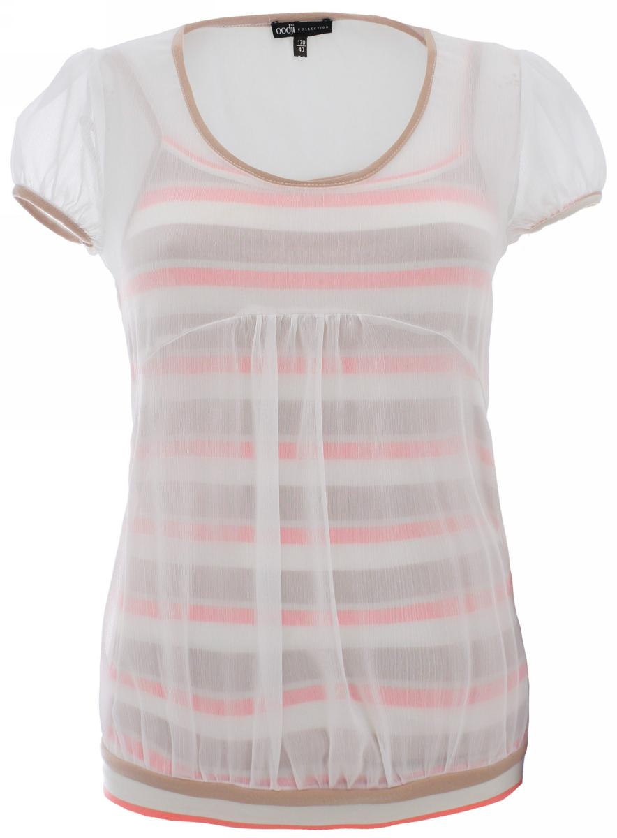 Блузка женская oodji Collection, цвет: белый, бежевый. 21411052/15036/1033S. Размер 40-170 (46-170)21411052/15036/1033SМодная женская блузка oodji изготовлена из высококачественного полиэстера. Модель выполнена в виде плотной маечки и прозрачной тканью поверх неё. Сзади имеются завязки.
