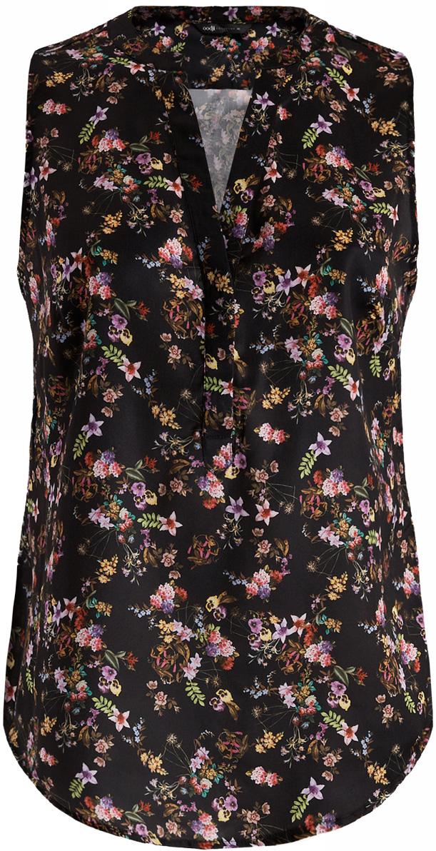 Блузка жен oodji Collection, цвет: черный, мультиколор, цветы. 21400388-3M/35542/2919F. Размер 40-170 (46-170)21400388-3M/35542/2919FБлузка принтованная с V-образным вырезом